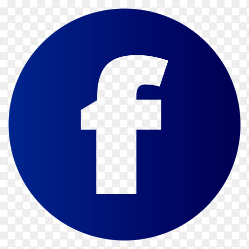 Blue facebook icon on transparent background PNG