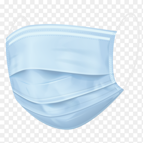 Blue medical mask on transparent background PNG