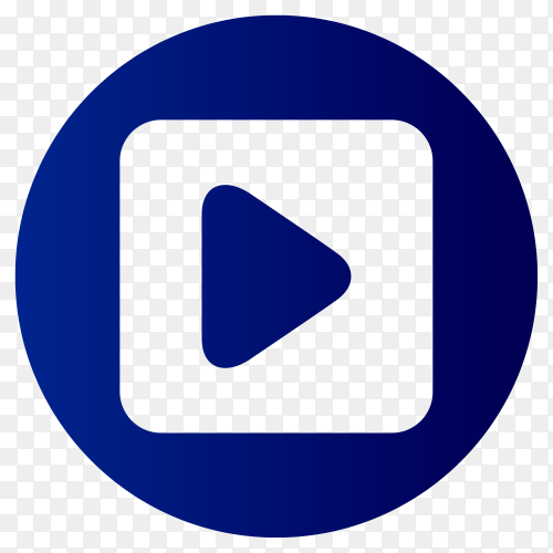 Blue youtube icon on transparent background PNG