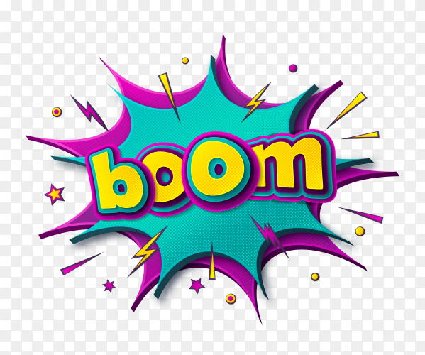 Boom comic speech bubble 3d text style effec on transparent background PNG