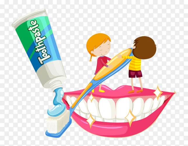 Boy and girl brushing teeth on transparent background PNG