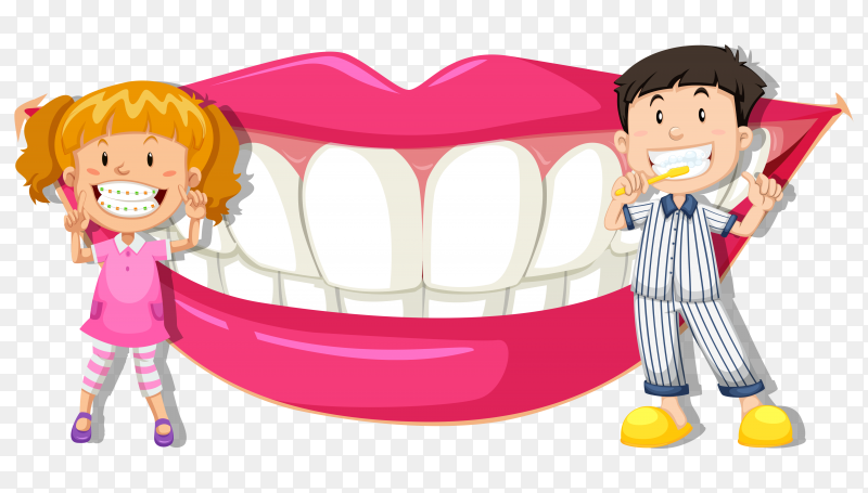 Boy and girl with clean teeth on transparent background PNG
