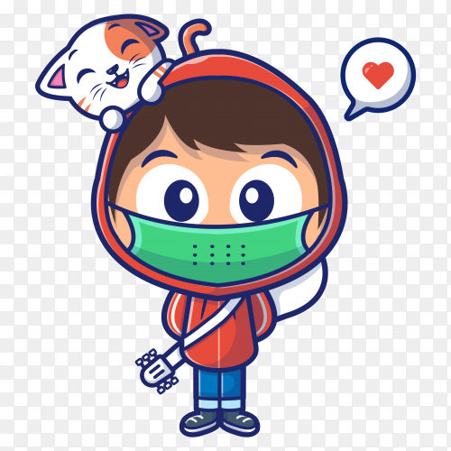 Boy wear mask with cat cartoon icon illustration on transparent background PNG
