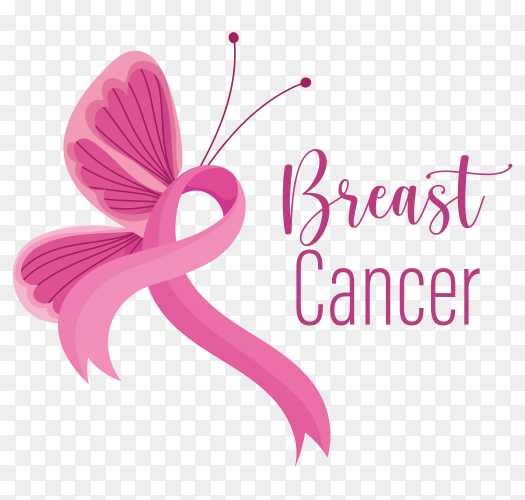 Breast cancer awareness month pink ribbon side butterfly on transparent background PNG