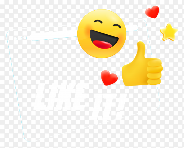 Browser window with with different emoji with like it concept on transparent background PNG