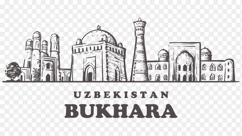Bukhara Uzbekistan Skyline isolated on transparent background PNG