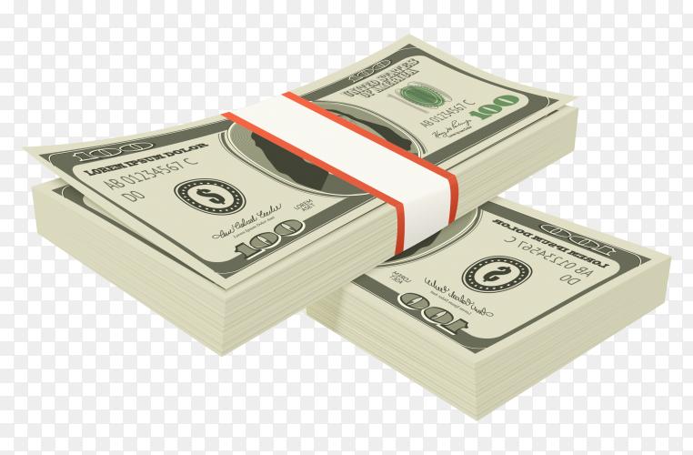Bundles of 100 us dollars on transparent background PNG
