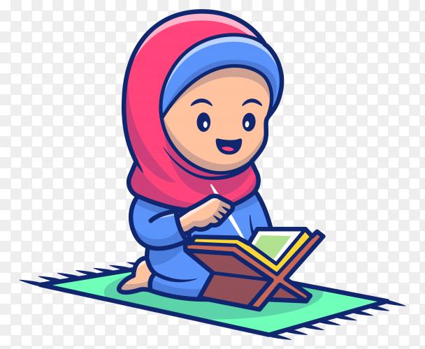 Cartoon Muslim girl reading al qur'an premium vector PNG