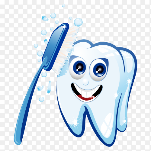 Cartoon Teeth with toothbrush on transparent background PNG