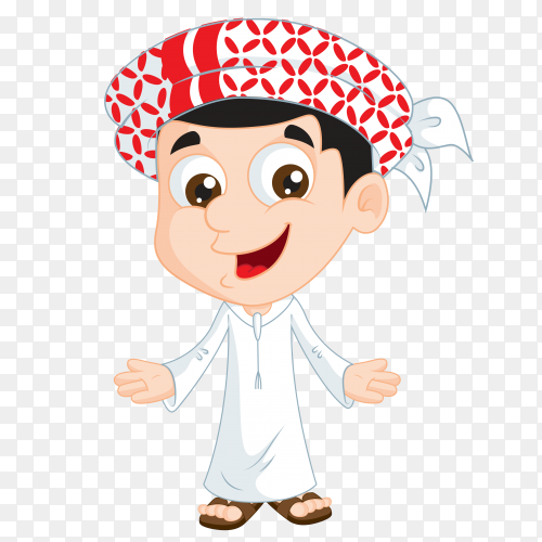 Cartoon arabic boy illustration on transparent background PNG