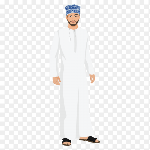 Cartoon arabic man on transparent background PNG