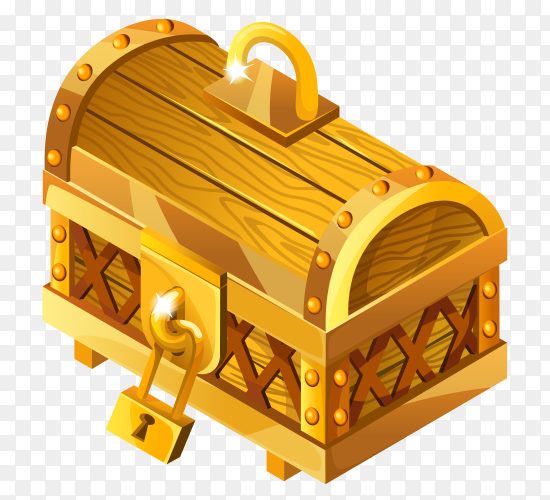 Cartoon closed wooden isometric chest on transparent background PNG