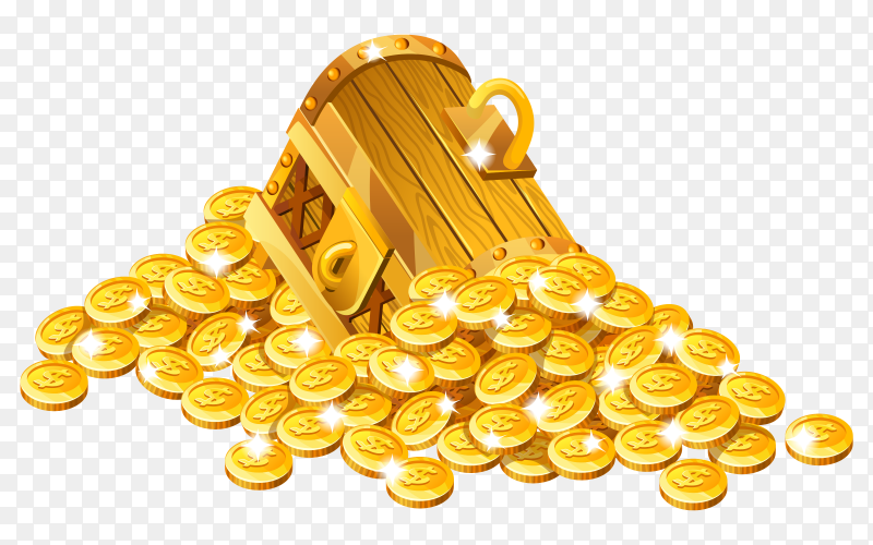 Cartoon closed wooden isometric with golden coins on transparent background PNG