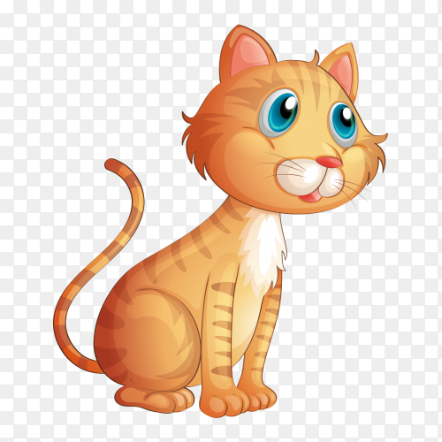 Cartoon cute cat on transparent background PNG