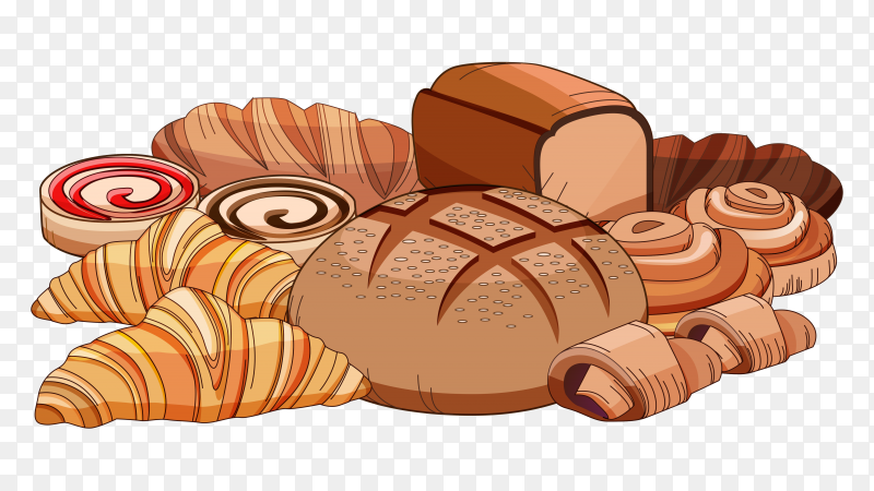 Cartoon fresh baked breads on transparent background PNG