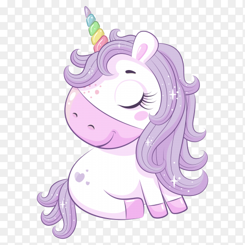 Cartoon magical unicorn on transparent background PNG