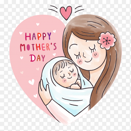 Cartoon mother hugging baby in heart frame on transparent background PNG
