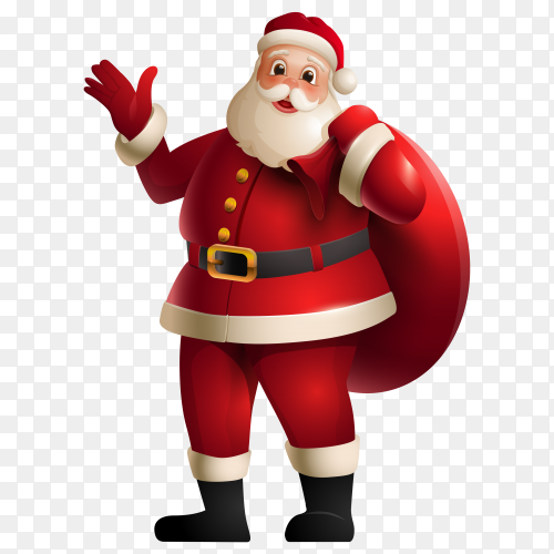 Cartoon santa claus character on transparent background PNG