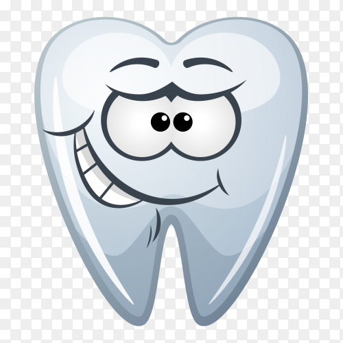Cartoon tooth on transparent background PNG