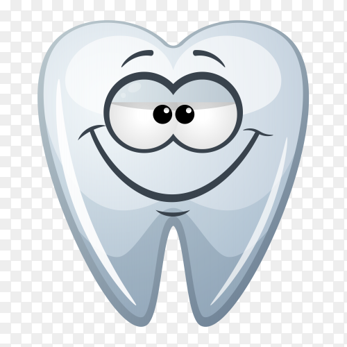 Cartoon tooth smiley on transparent background PNG
