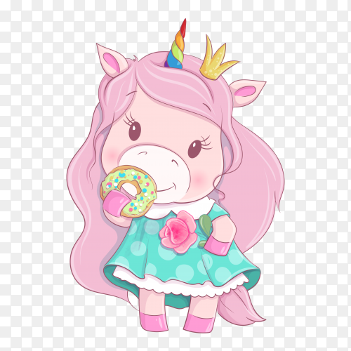 Cartoon unicorn girl holding flower and donut Premium vector PNG