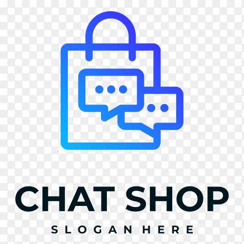 Chat shop logo on transparent PNG
