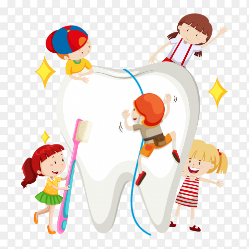 Children holding toothpaste and toothbrush standing with a large white tooth on transparent background PNG