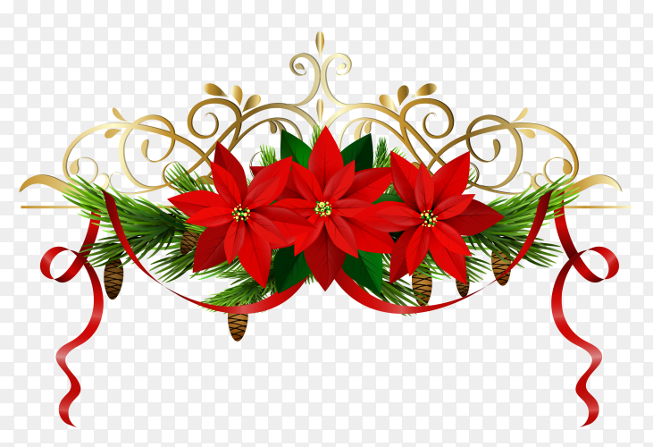 Christmas decoration with Flowers and bells on transparent background PNG
