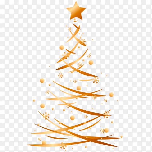 Christmas golden tree free download PNG