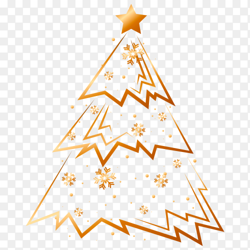 Christmas golden tree on transparent background PNG