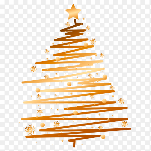 Christmas golden tree royalty free PNG