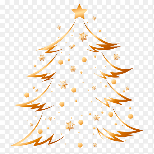 Christmas golden tree vector PNG