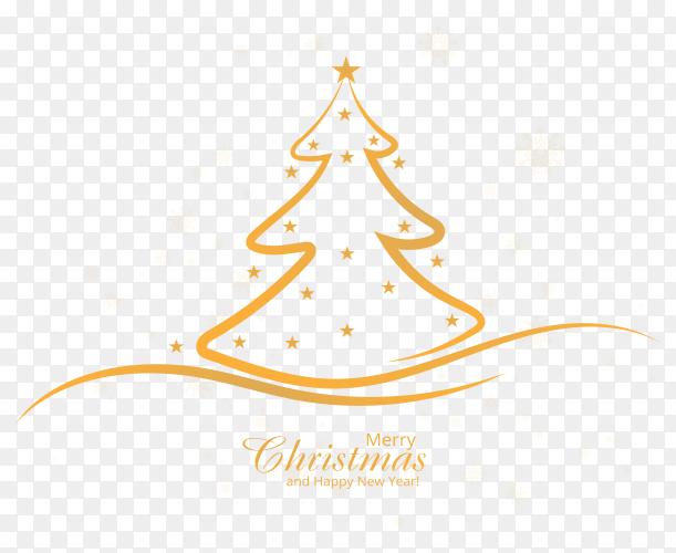 Christmas line tree design on transparent background PNG