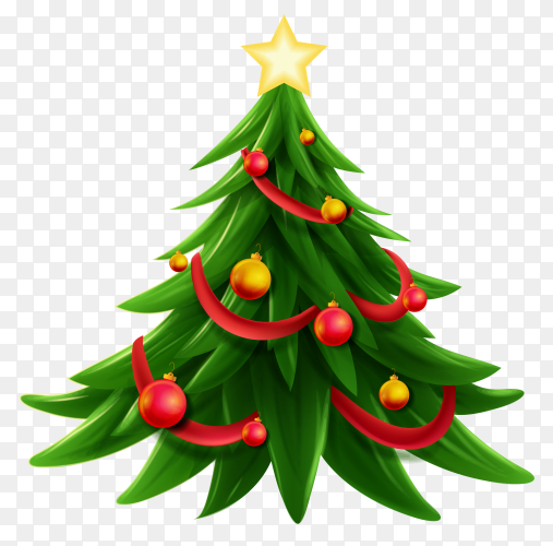 Christmas tree illustration on transparent background PNG