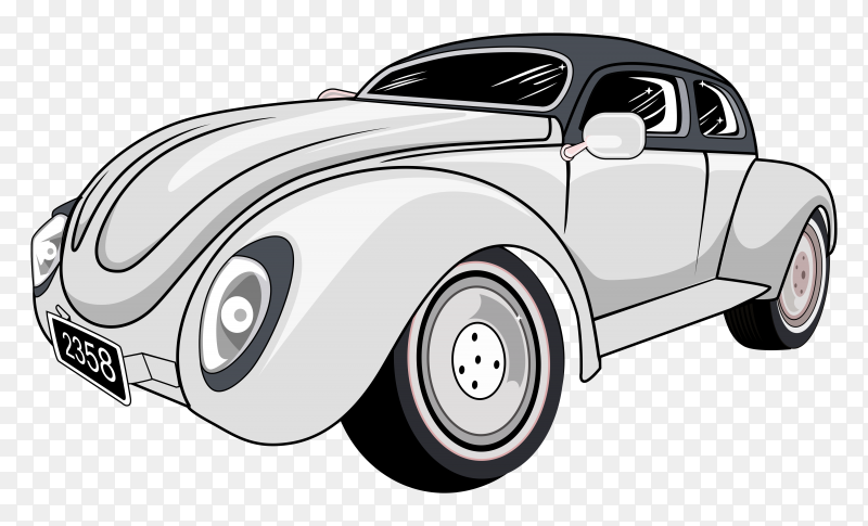 Classic old car illustration on transparent background PNG