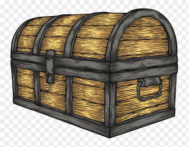 Classic wooden chest on transparent background PNG