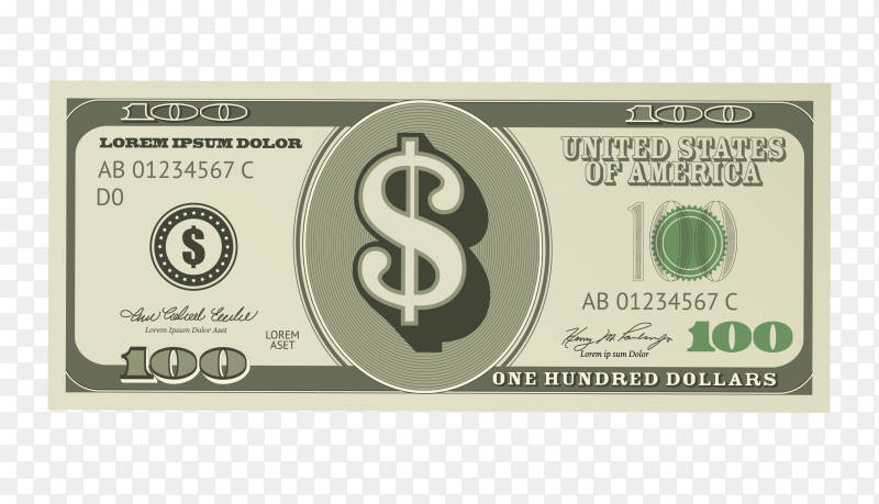 Close-up of a dollar banknote premium vector PNG