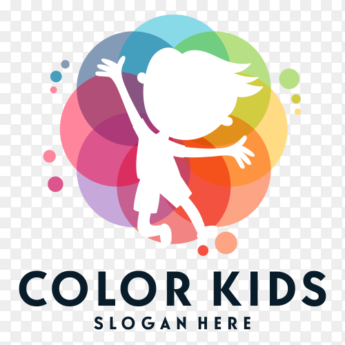 Color kids logo isolated on transparent background PNG