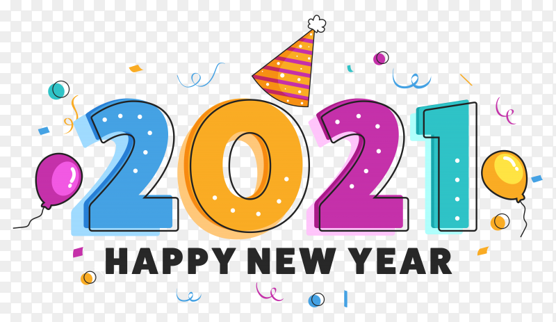 Colorful 2021 number with party celebration elements decorated on transparent background PNG