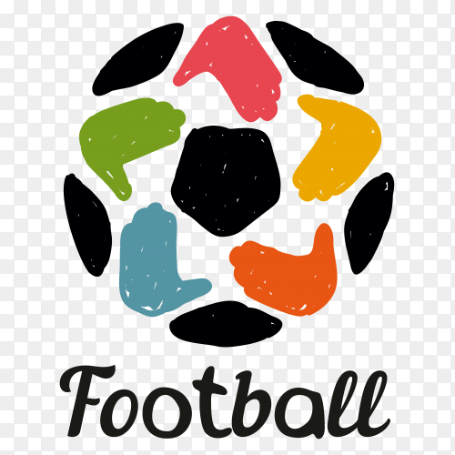 Colorful football isolated on transparent background PNG