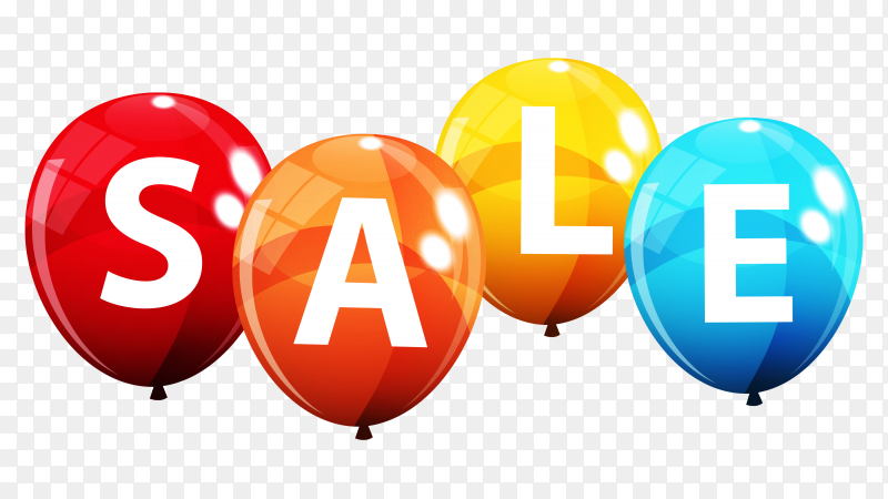 Colorful sale balloon design on transparent background PNG