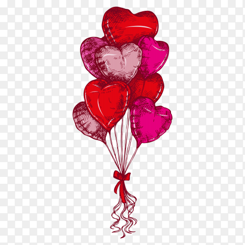 Colorful sketch heart shaped balloons illustration on transparent background PNG