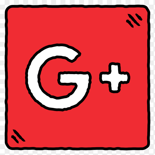 Colorful squares with Google plus logo template on transparent background PNG