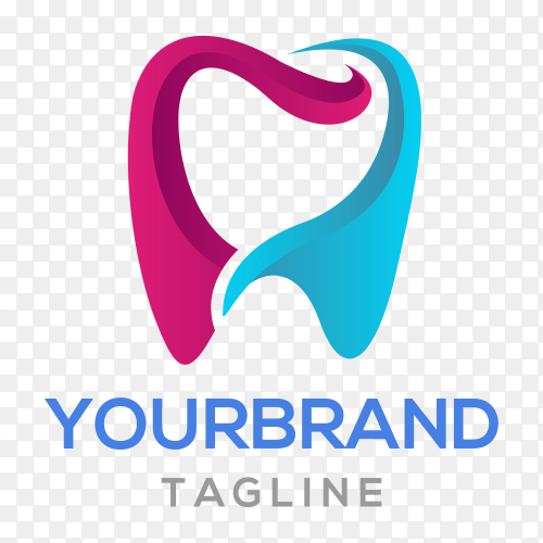 Colorful tooth logo design on transparent background PNG