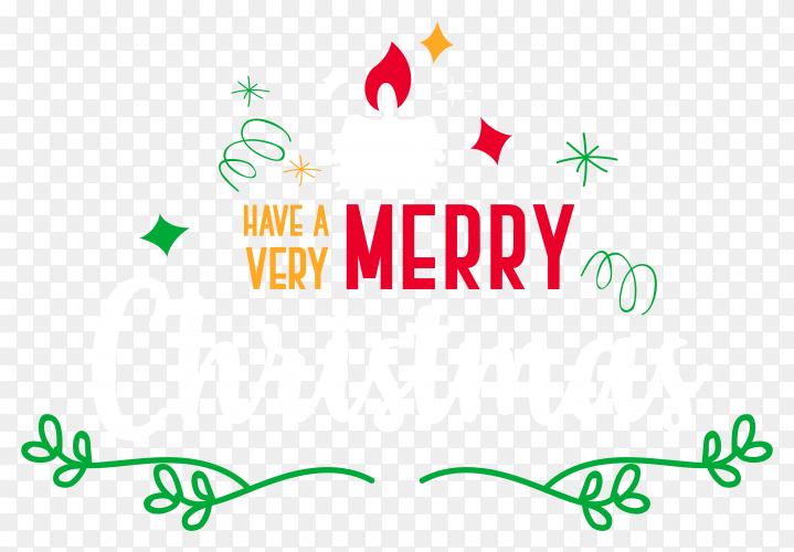 Colorfull merry christmas and emblems premium vector PNG