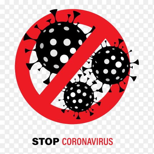 Coronavirus in flat design illustration on transparent background PNG
