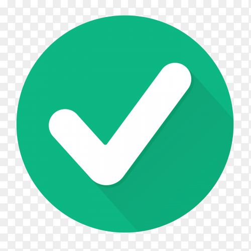 Correct icon button on transparent background PNG