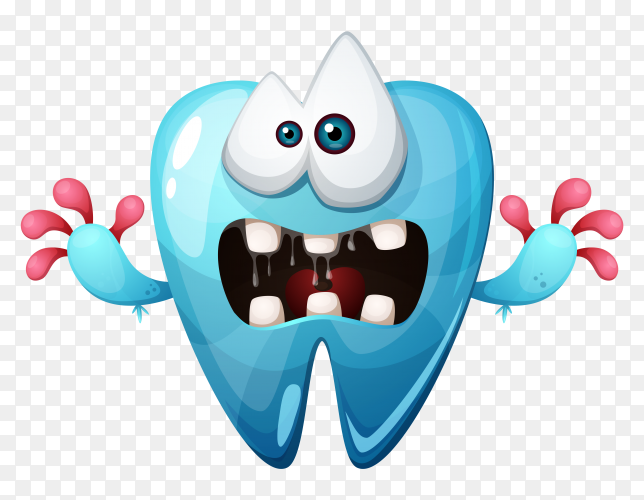Crazy cartoon tooth illustration on transparent background PNG