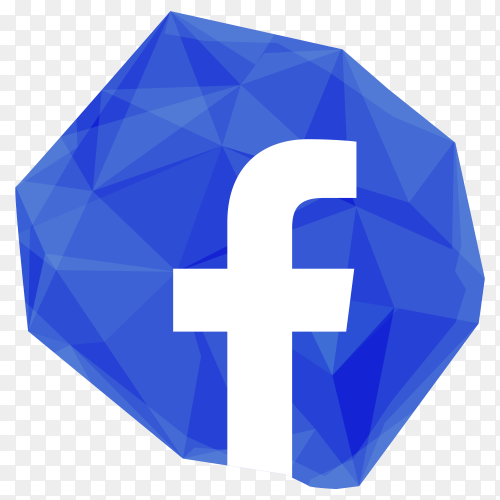 Creative crystal facebook icon design premium vector PNG