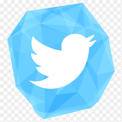 Creative crystal twitter icon design on transparent PNG